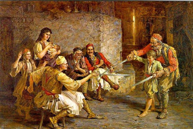 Wikipedia / Slika Paje Jovanovića - Čas mačevanja