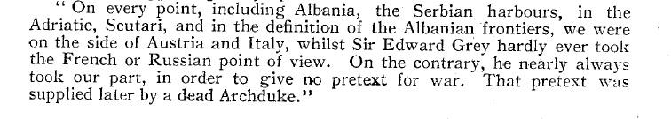 Извод из неформалних разговора сир Едварда Греја и кнеза Лихновског о Балканским ратовима
