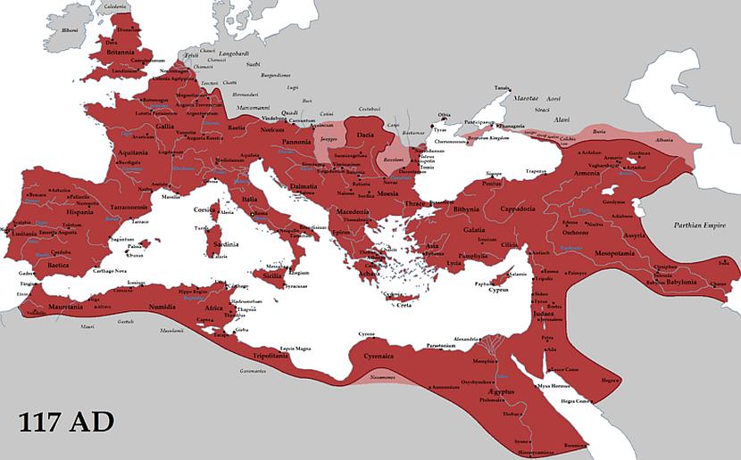 Rimsko Carstvo u vreme cara Trajana Foto:Wikipedia/Tataryn77